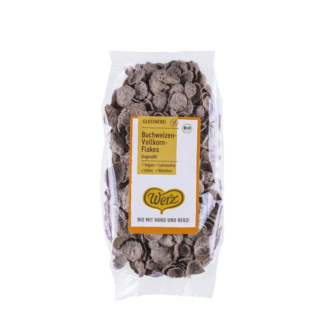Glutenfrei genießen mit den Vollkorn-Buchweizenflakes von Werz 250g-Tüte
