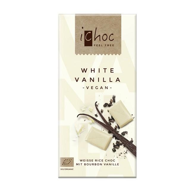 Vegane White Vanilla Reismilchschokolade von i-Choc (80g)