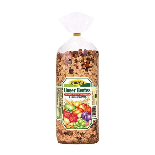 granoVita Bio Müsli mit 40% ungeschwefelten Früchten Unser Bestes Müsli 1kg