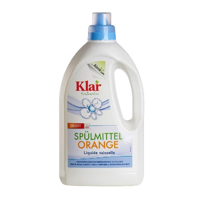 Klar sensitives Geschirrspülmittel mit Orange - ohne synthetische Duftstoffe - 1500ml