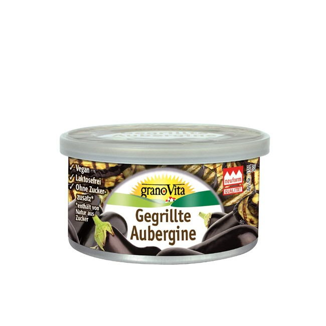granoVita gegrillte Aubergine Pastete laktosefrei vegan vegetarisch 125g bio