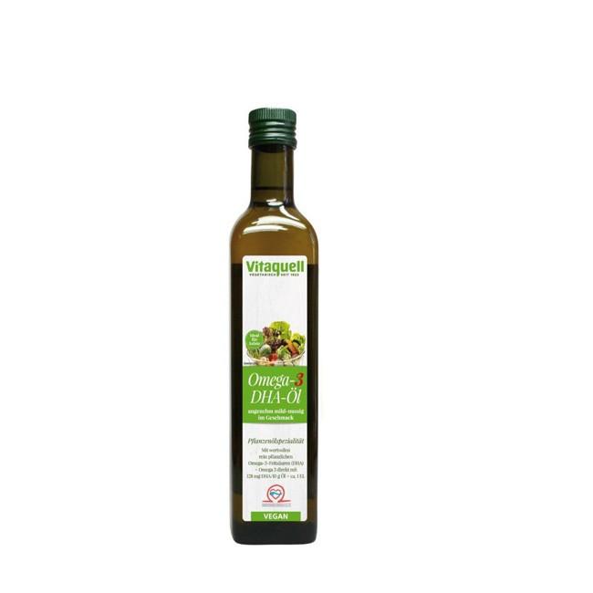 Vitaquell-Fauser-Bio-omega-3-DHA-Öl reich an Omega 3 Fettsäuren essentiell und sofort im Körper verfügbar zum Abschmecken von Salaten