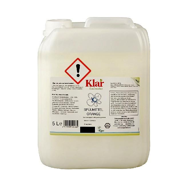 Sensitives Öko Spülmittel von KLAR im 5l-Spar Kanister mit Orangenduft
