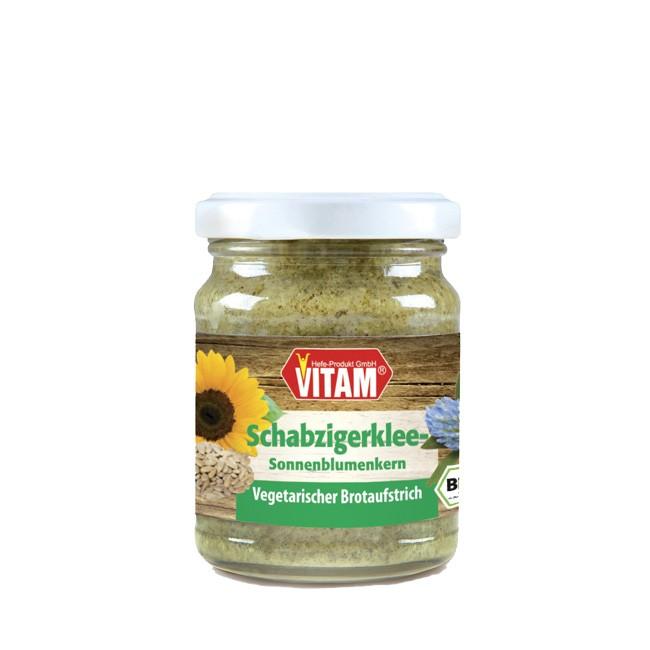 Veganer Vitam Brot Aufstrich Schabzigerklee und Sonnenblumen mit fein herbem Aroma 100g bio Glas