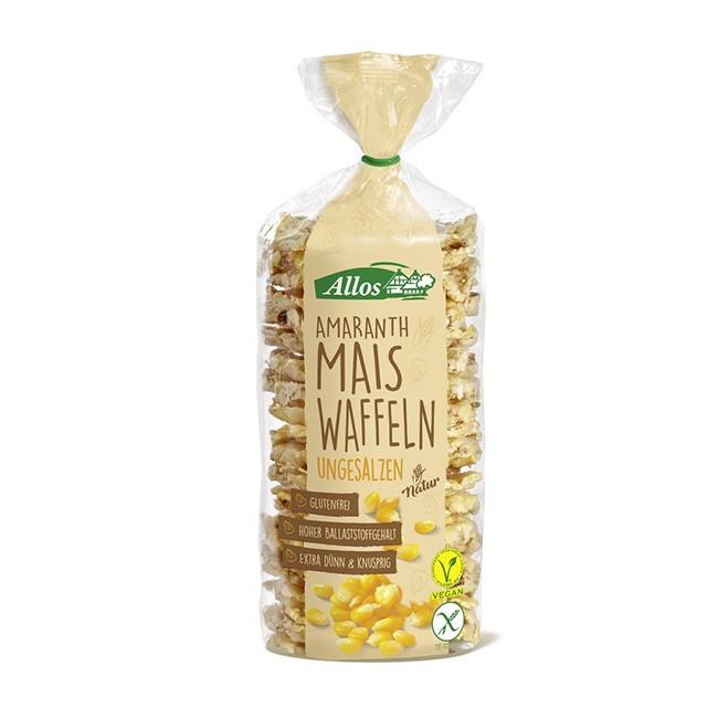 Amaranth Maiswaffeln von Allos - 100g, bio, extra knusprig- glutenfrei und ohne Salz