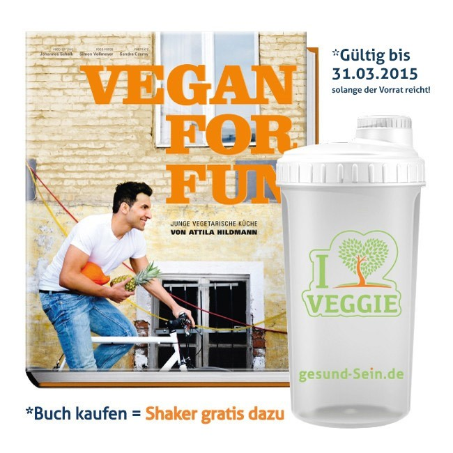 Attila Hildmann Kochbuch Vegan for Fun + Shaker