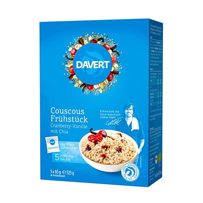 5 Einzelpackungen Bio Couscous Frühstück mit Cranberry, Vanille und Chia von Davert