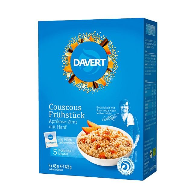 Davert Couscous Frühstück Aprikose, Zimt und Hanf in 5 praktischen Einzelpackungen