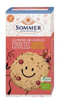 Sommer : Glutenfreie Cookies Cranberry, Mandel & Sesam, bio (125g)