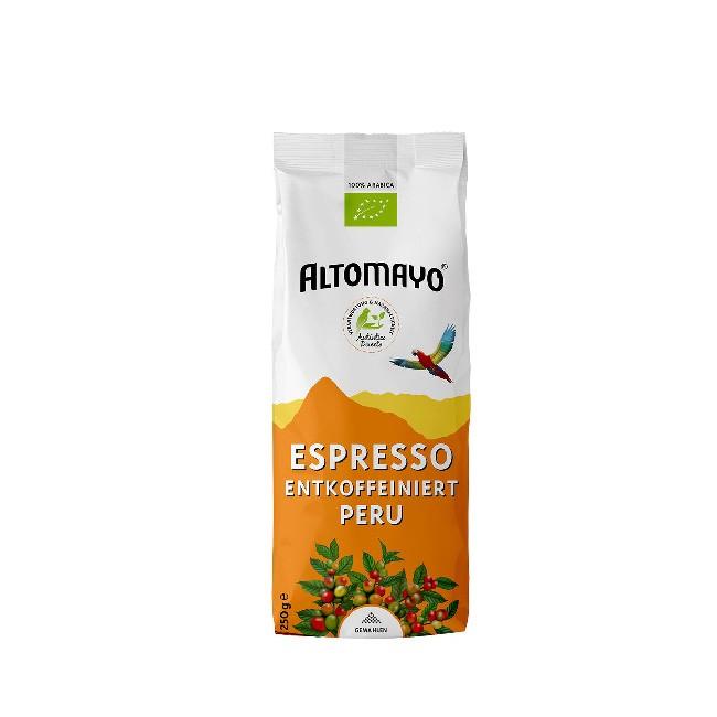 Altomayo Espresso ohne Koffein (250g) gemahlen und entkoffeiniert