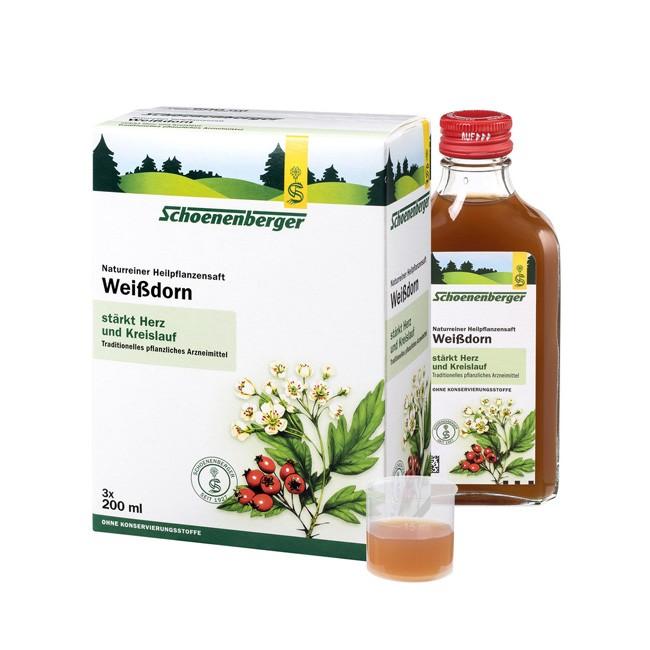 Schoenenberger : Naturreiner Heilpflanzensaft Weißdorn, bio (3x200ml)**