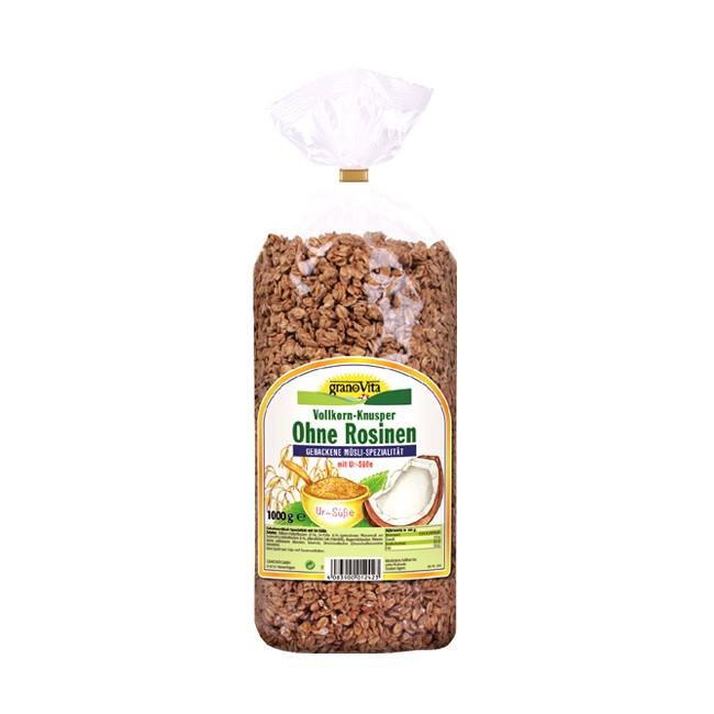 vollwertiges Frühstücksmüsli Vollkorn Knusper ohne Rosinen von granoVita 1000g