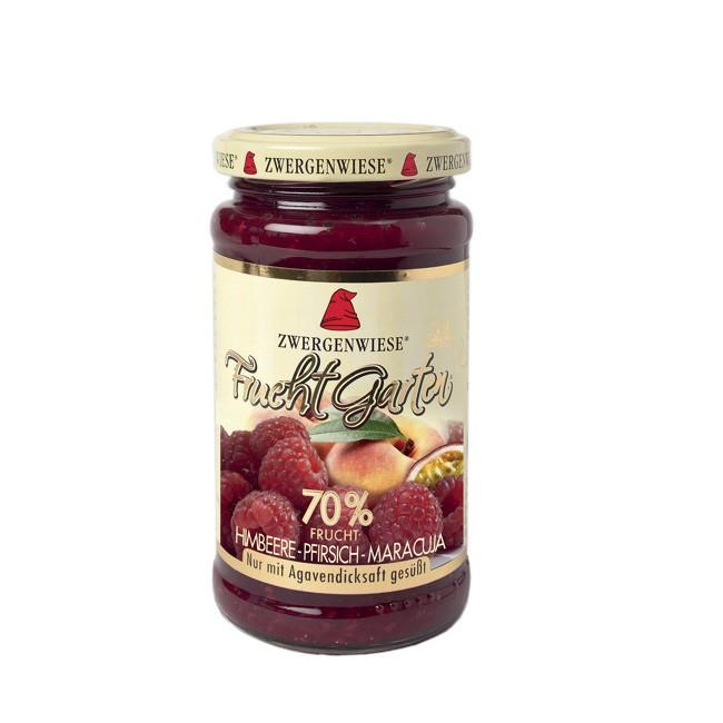 Zwergenwiese FruchtGarten mit 70 Prozent Fruchanteil Himbeere Pfirsich Maracuja bio 225g