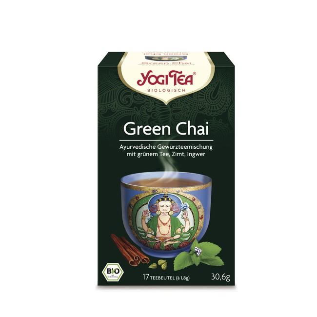 Yogi Tea Green Chai Tee ohne Gentechnik und leckeren Zutaten Zimt Krauseminze Kardamom enthält Koffein