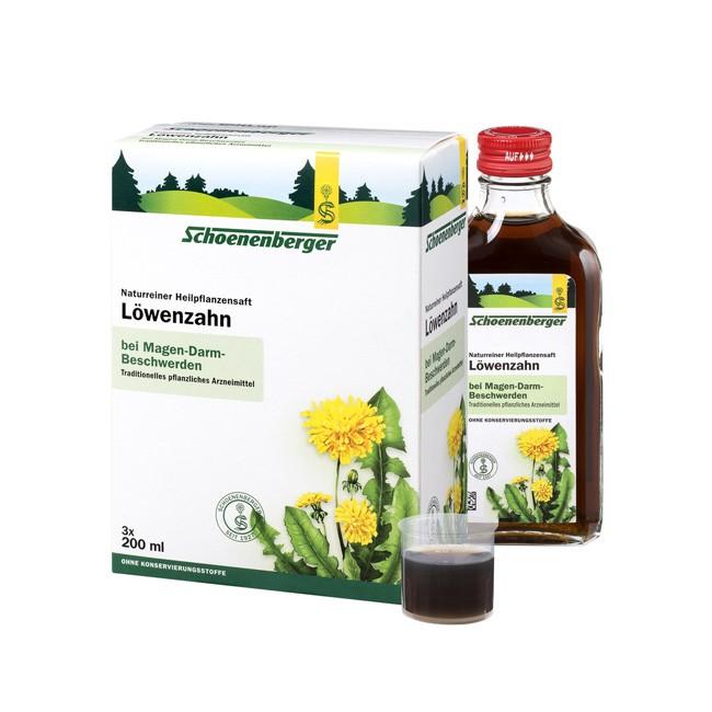 Gut für die Harnwege und bei Verdauungsproblemen der Bio Löwenzahn Heilpflanzensaft von Schoenenberger in der 3x200ml Packung