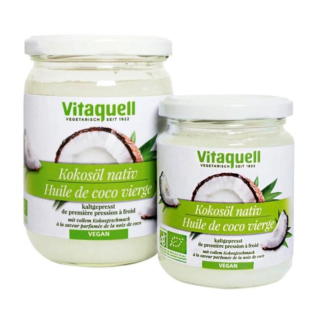 Kokosöl von Vitaquell in Bio Qualität und native für die vegane Küche hitzestabil, daher ideal zum Braten, Backen und Fritieren, aromatisch
