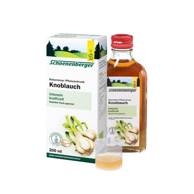 Knoblauch Pflanzentrunk von Schoenenberger eignet sich auch zum würzen von Speißen/Gerichten Bio Anbau 200ml
