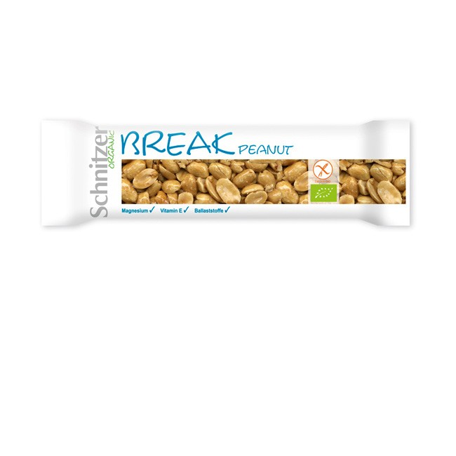Schnitzer's Break Riegel Peanut mit Erdnuss - Bio Zutaten, glutenfrei