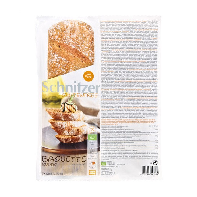 Leckeres glutenfreies Bio Leinsamen Baguette von Schnitzer 2x160g