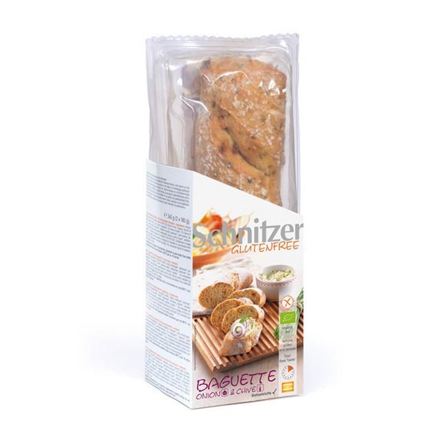 Glutenfreie Onion & Chive Bio Baguettes von Schnitzer (2x160g)