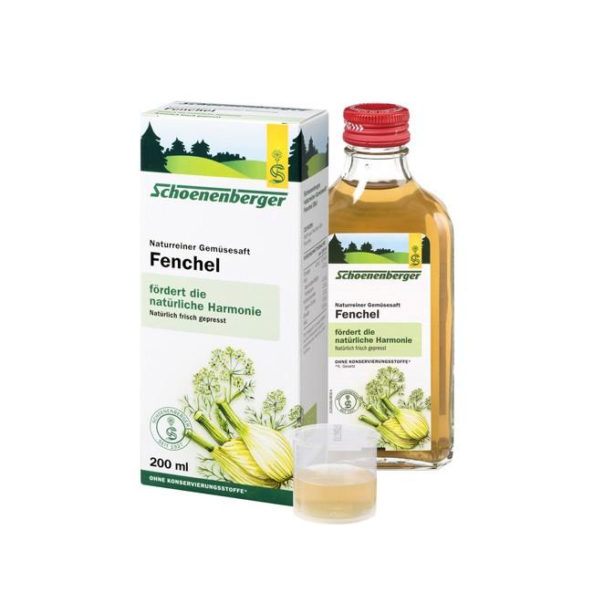 Bio Gemüsesaft Fenchel von Schoenenberger aus frischem Fenchel, natürlich, enthält ätherische Öle und die Vitamine A, B und C