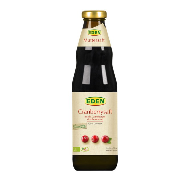 Bio Cranberrysaft von Eden - Muttersaft 750 ml