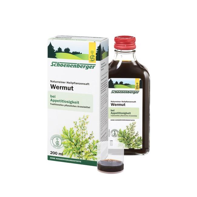 Regt den Appetit an Wermut Heilpflanzen Saft von Schoenenberger ohne Zusatzstoffe und Bio Anbau