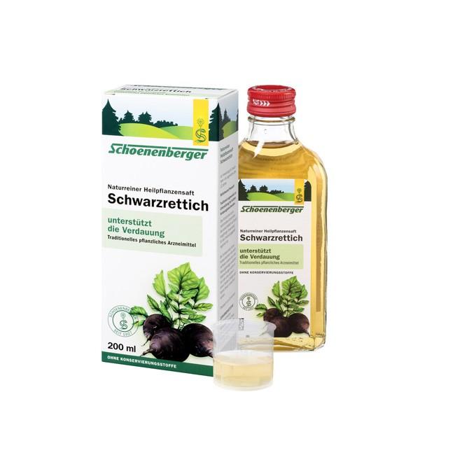 Naturreiner BioHeilpflanzensaft Schwarzrettich von Schoenenberger zur Unterstützung bei leichten Verdauungsbeschwerden