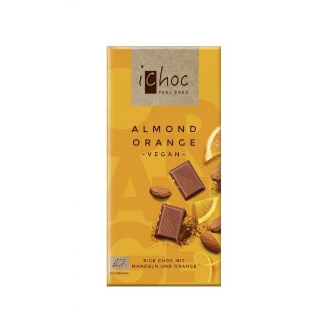 Vegane Almond Orange Reismilchschokolade von iChoc (80g)