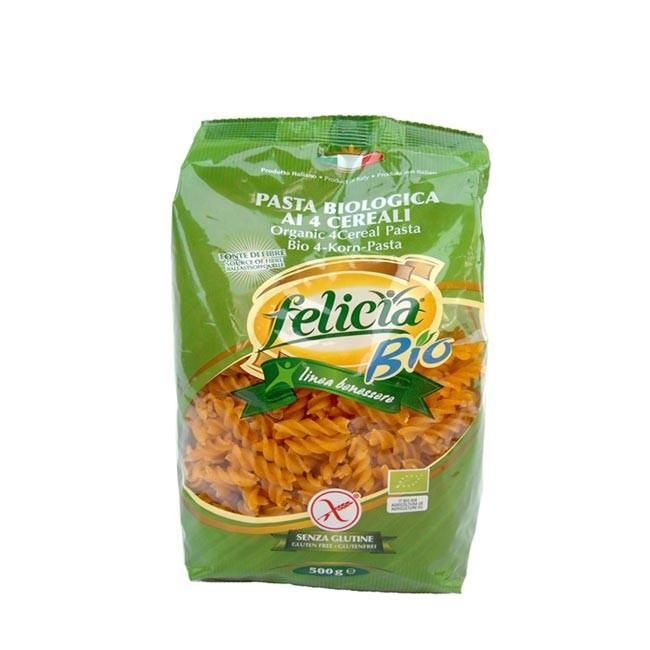 4-Korn Bio Nudeln glutenfrei - Fusilli von Felicia Bio (aus Reis, Mais, Buchweizen und Quinoa)