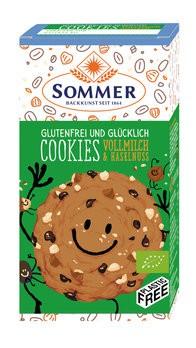 Sommer : Glutenfreie Cookies Vollmilch & Haselnuss, bio (125g)