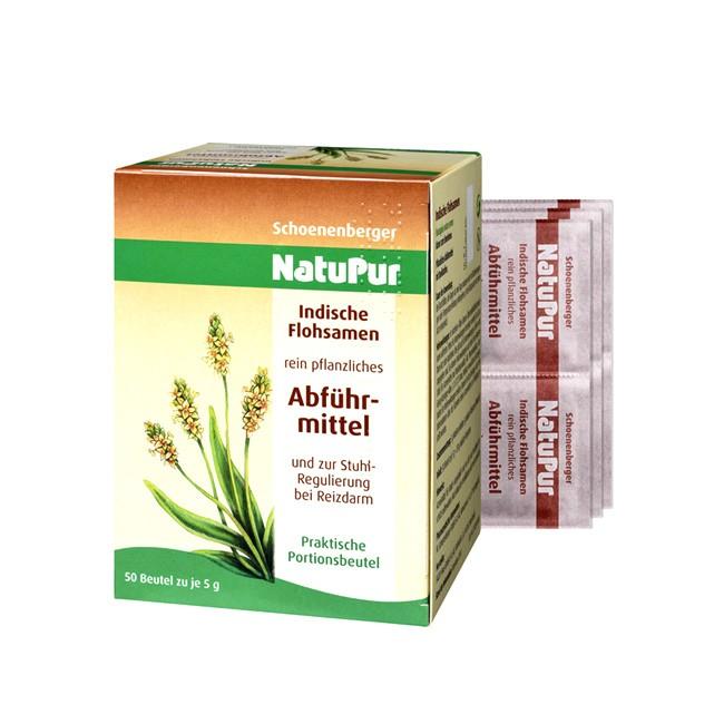 Pflanzliches Abführmittel Natupur im Portionsbeutel von Schoenenberger (50x5g indische Flohsamenschalen)