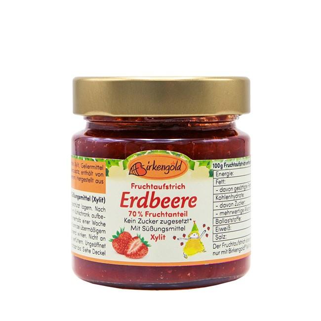 Birkengold Erdbeer Fruchtaufstrich mit Birkenzucker (200g-Glas)