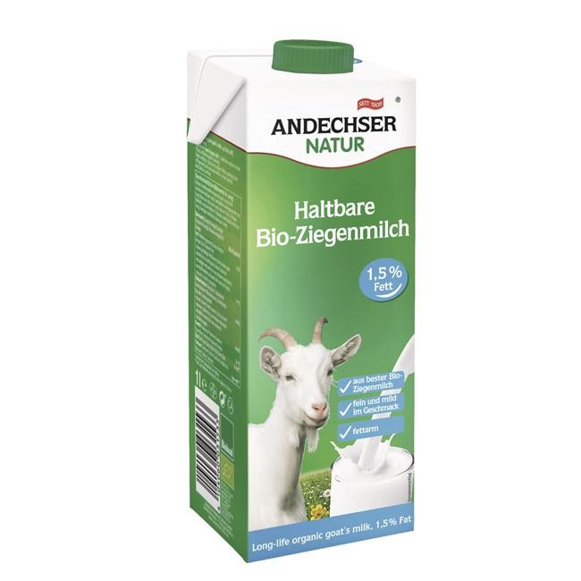 Andechser Natur fettarme Bio Ziegenmilch im 1l ELO- Einwegpack