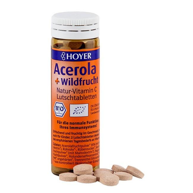 Für die Erkältungszeit - Natur Vitamin C Bio Lutschtabletten mit Acerola-Wildfrucht von Hoyer im 60 Stück Glasröhrchen