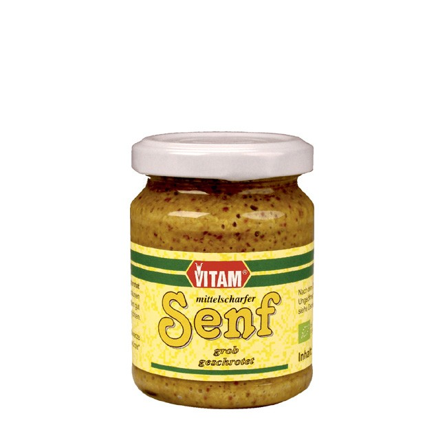 Vitam mittelscharfer Senf bio 125g mit grober gelber und schwarzer Senfsaat