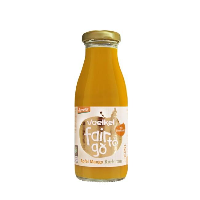 Voelkel Fair to go Apfel Mango Kukurma Saft - kleine 250ml Flasche