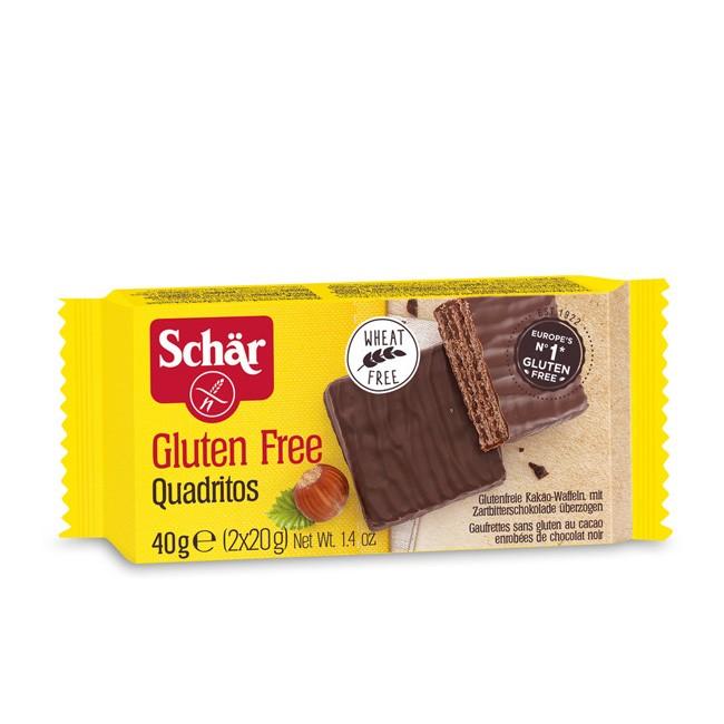 Quadritos, glutenfreie Kakao Waffeln mit Zartbitterschokolade überzogen von Dr. Schär 40g