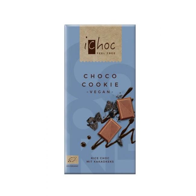 Vegane Choco Cookie Reismilchschokolade von iChoc (80g)
