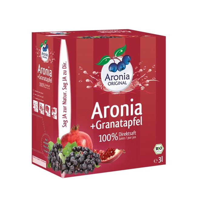 Bio Aronia+ Granatapfel 100% Direktsaft im 3l Monatspack - Aronia ORIGINAL