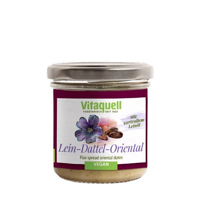 Bio Leinölaufstrich mit Datteln und orientalischen Gewürzen - Curry (130g) - vegan und glutenfrei
