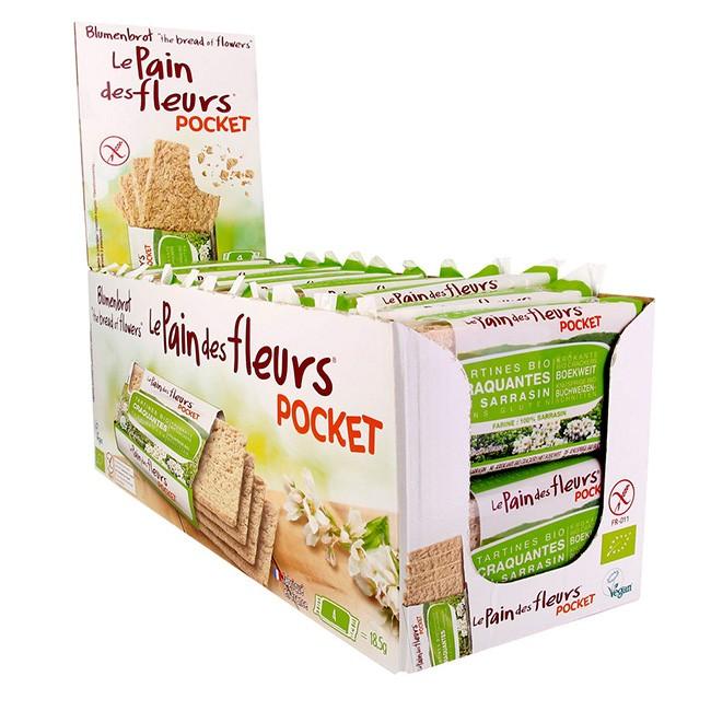 Blumenbrot Pockets - Buchweizen Bio Knusperbrot in 24 Einzelpackungen mit je 4 Scheiben