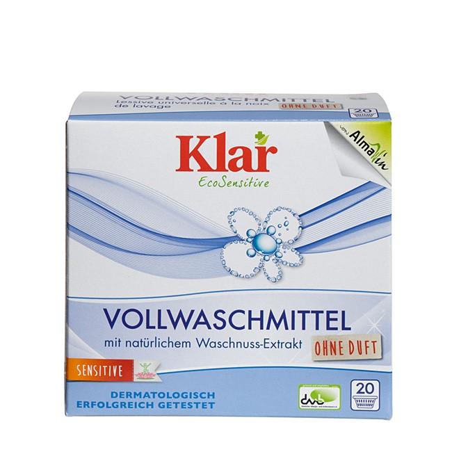 KLAR Sensitive Vollwaschmittel Pulver für 20 Waschladungen - allergikerfreundlich
