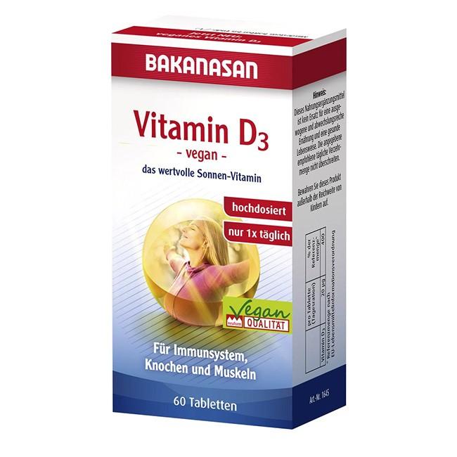 Bakanasan: Vitamin D3 Tabletten (60Stk) als Nahrungsergänzung