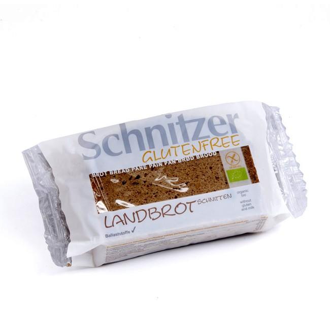 Schnitzer glutenfreie Landbrot Schnitten  mit Buchweizenvollkornmehl und Buchweizensauerteig gebacken feines Bio-Brot