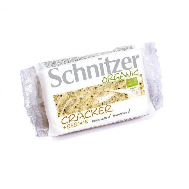 Schnitzer Cracker + Sesame mit nussigem Bio-Sesam aus Bio Dinkel-Vollkornschrot zum Knabbern Dippe oder belegen 100g Bio Qualität