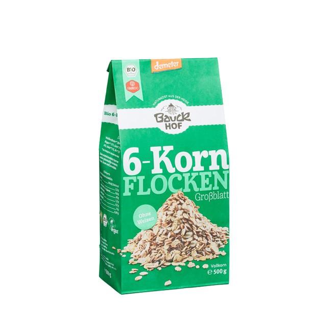 Flocken Mischung 6 Korn Flocken mit Vollkornflocken aus Hafer, Roggen, Gerste, Reis, Dinkel und Hirse ohne Weizen und bio dynamischen Anbau