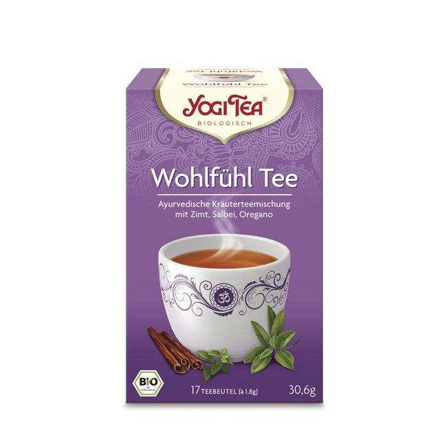 Wohlfühlen mit Salbei mit Zimt und Zitronengras im Yogi Tea Wohlfühl Tee in Bio Qualität